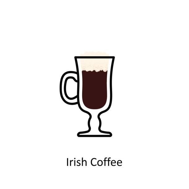 Irish Coffee cocktail icon in flat style Irish Coffee cocktail icon in flat style. Vector illustration irish coffee stock illustrations