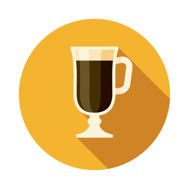 Irish Coffee Ireland Icon A flat design icon with a long shadow. File is built in the CMYK color space for optimal printing. Color swatches are global so it's easy to change colors across the document. irish coffee stock illustrations