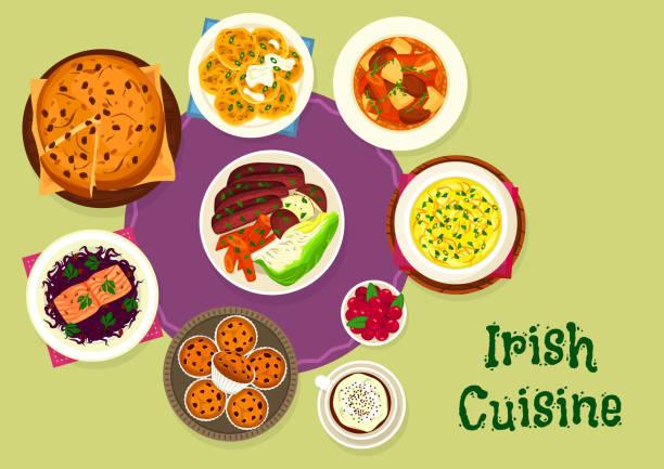 irische küche symbol für skandinavische food-design - lachskuchen stock-grafiken, -clipart, -cartoons und -symbole