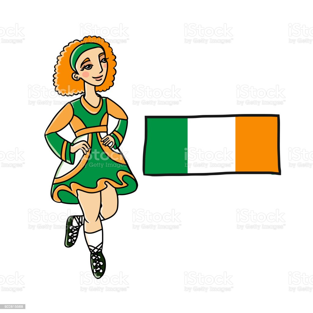 5c58cb1924f2a Irish Dancing Woman With Ireland Flag Stock Vector Art & More Images ...