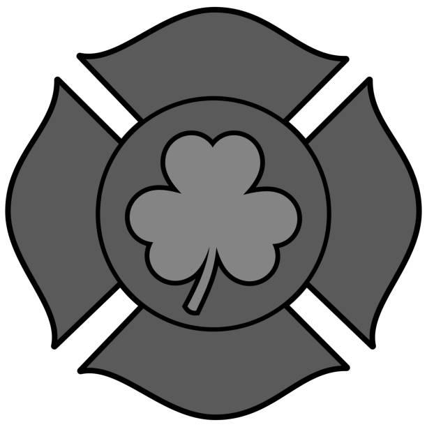 Irish Firefighter Maltese Cross Illustration A vector cartoon illustration of a Irish Firefighter Maltese Cross. maltese cross stock illustrations