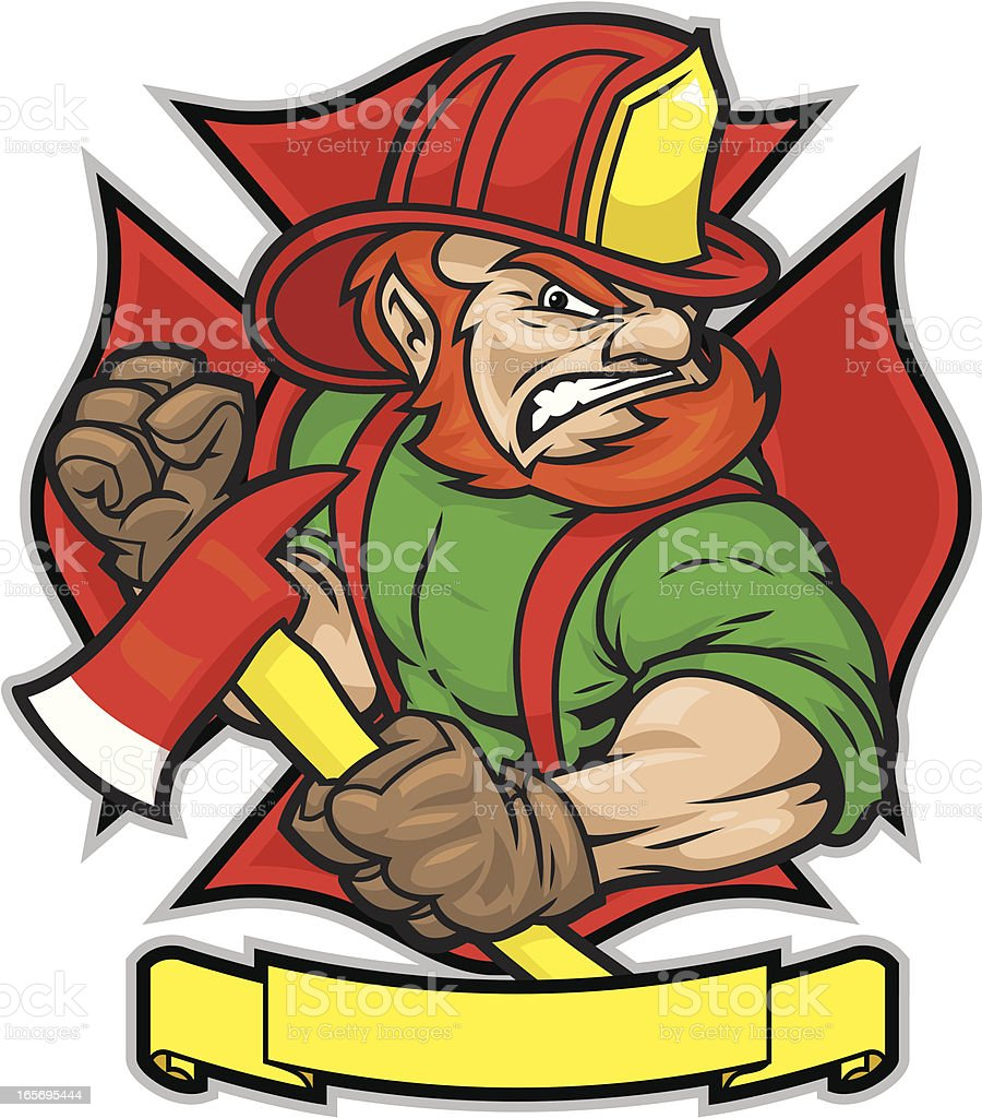 Irish Firefighter vector art illustration