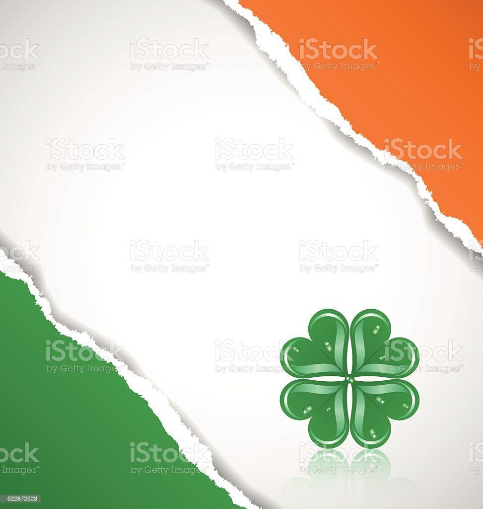 Irische Flagge Hintergrund Mit Klee Stock Vektor Art und mehr Bilder ...