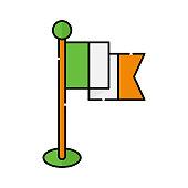 irish flag flat icon vector illustration. irish icon design isolated on white background. St. Patricks Day vector illustration. St. Patrick's Day vector icon trendy flat symbol for website, sign, UI.