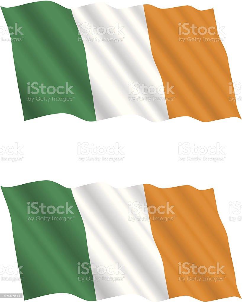 Bandera irlandesa ondeando en el viento - ilustración de arte vectorial