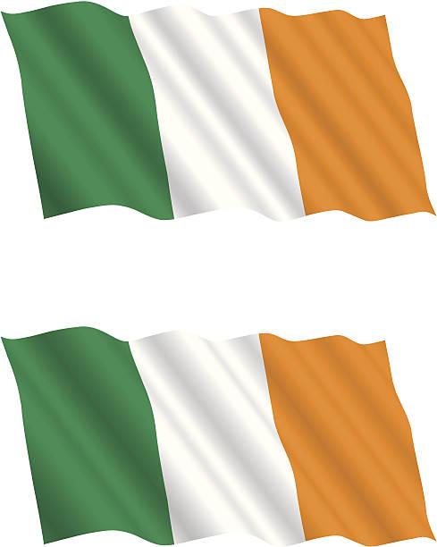 ilustraciones, imágenes clip art, dibujos animados e iconos de stock de bandera irlandesa ondeando en el viento - bandera irlandesa