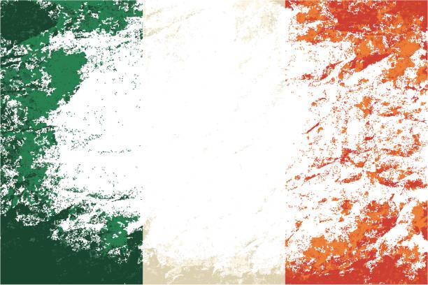 ilustraciones, imágenes clip art, dibujos animados e iconos de stock de bandera irlandesa. grunge fondo. ilustración vectorial - bandera irlandesa