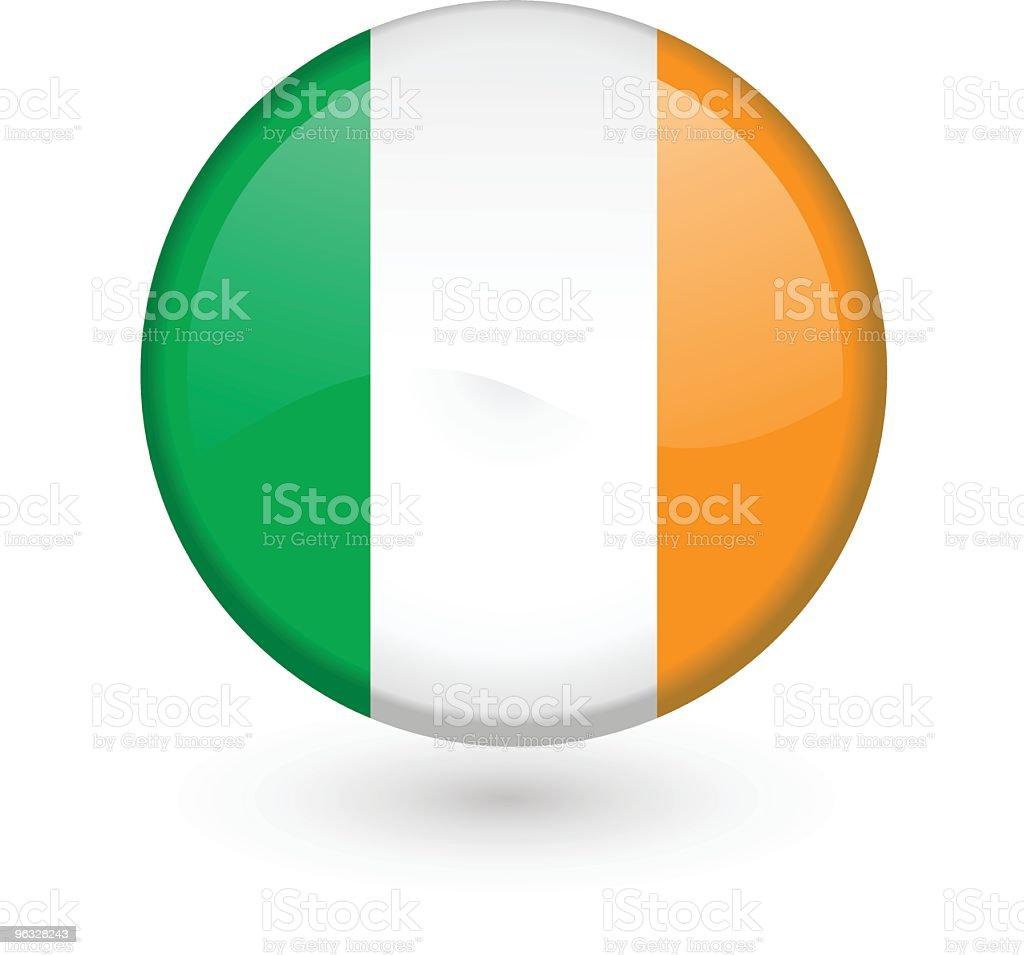 Bandera irlandesa vector botón - ilustración de arte vectorial