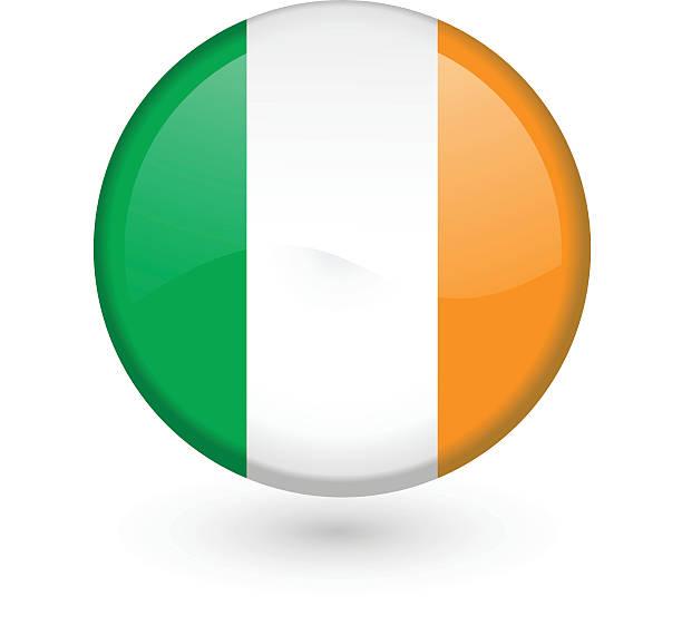 ilustraciones, imágenes clip art, dibujos animados e iconos de stock de bandera irlandesa vector botón - bandera irlandesa