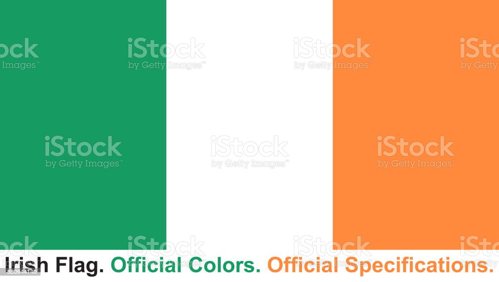 Irish Flag (Official Colours, Official Specifications) vector art illustration