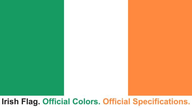 irische flagge (amtliche farben, offiziellen spezifikationen) - flagge irland stock-grafiken, -clipart, -cartoons und -symbole