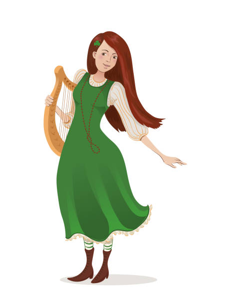 Irish girl in a green dress with a harp. Cartoon character for St. Patricks day. Isolated on white background Vector illustration of an irish girl in a green dress with a harp. Cartoon character for St. Patricks day. Isolated on white background ARPA stock illustrations