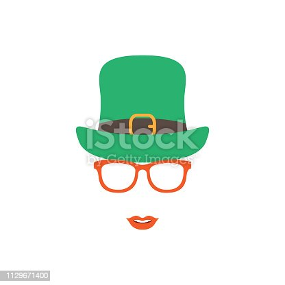 Irish girl in green hat and orange glasses. Happy St. Patrick's day vector illustration.