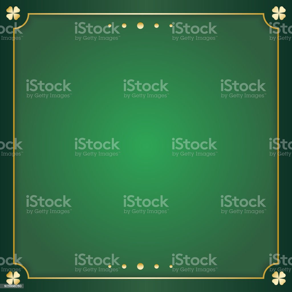 irish green square greeting card. Green background with copy space and gold decoration to the edges. Vector illustration.