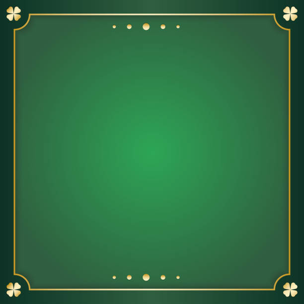 irish green square greeting card. Green background with copy space and gold decoration to the edges. Vector illustration. irish green square greeting card. Green background with copy space and gold decoration to the edges. Vector illustration. irish culture stock illustrations