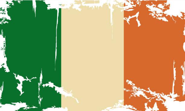 ilustraciones, imágenes clip art, dibujos animados e iconos de stock de grunge de bandera de irlanda.  ilustración vectorial - bandera irlandesa