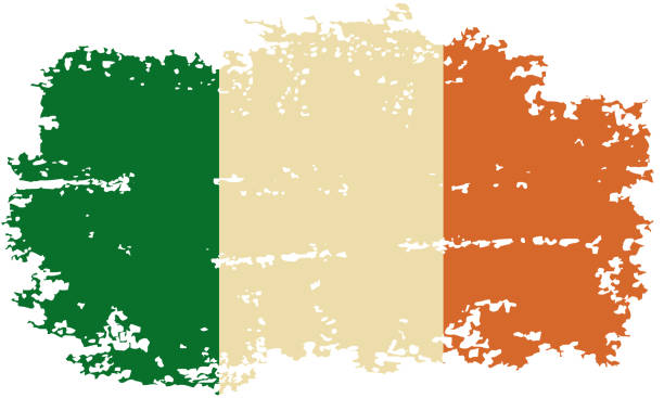 ilustraciones, imágenes clip art, dibujos animados e iconos de stock de grunge de bandera de irlanda. ilustración vectorial. - bandera irlandesa