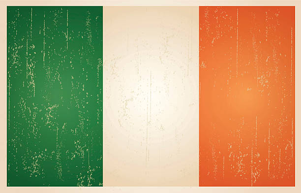 irish grunge vintage-flagge - flagge irland stock-grafiken, -clipart, -cartoons und -symbole