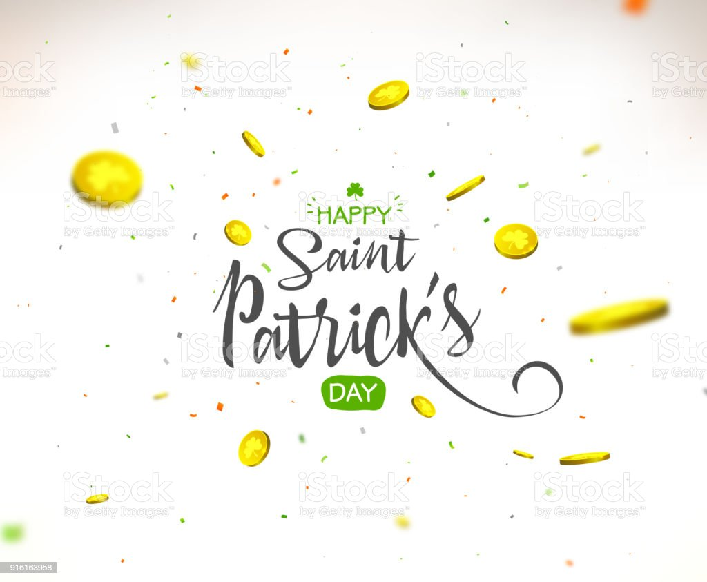 Irish holiday - happy Saint Patrick's Day background. Lettering with colorful confetti and flying coins. vector art illustration