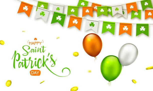 ilustraciones, imágenes clip art, dibujos animados e iconos de stock de vacaciones irlanda - feliz día de san patricio fondo con guirnalda de banderas, globos y monedas. - bandera irlandesa