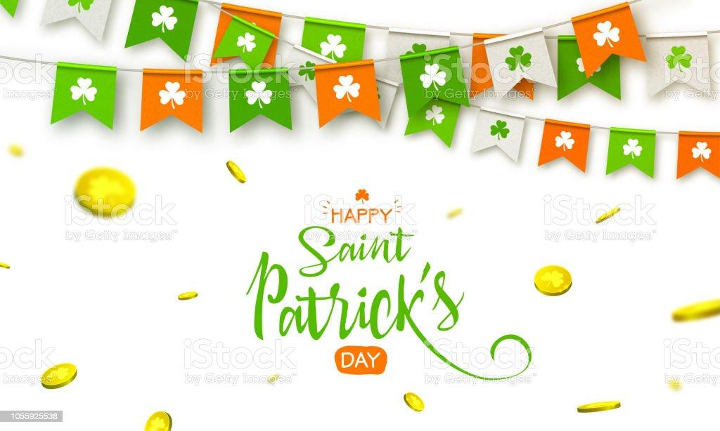 Irischen Urlaub - glücklich Saint Patricks Day Hintergrund mit Girlande Fahnen und Münzen – Vektorgrafik