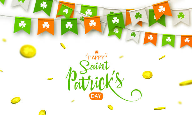 irish holiday - happy saint patrick's day background with garland flags and coins - st patricks day stock illustrations