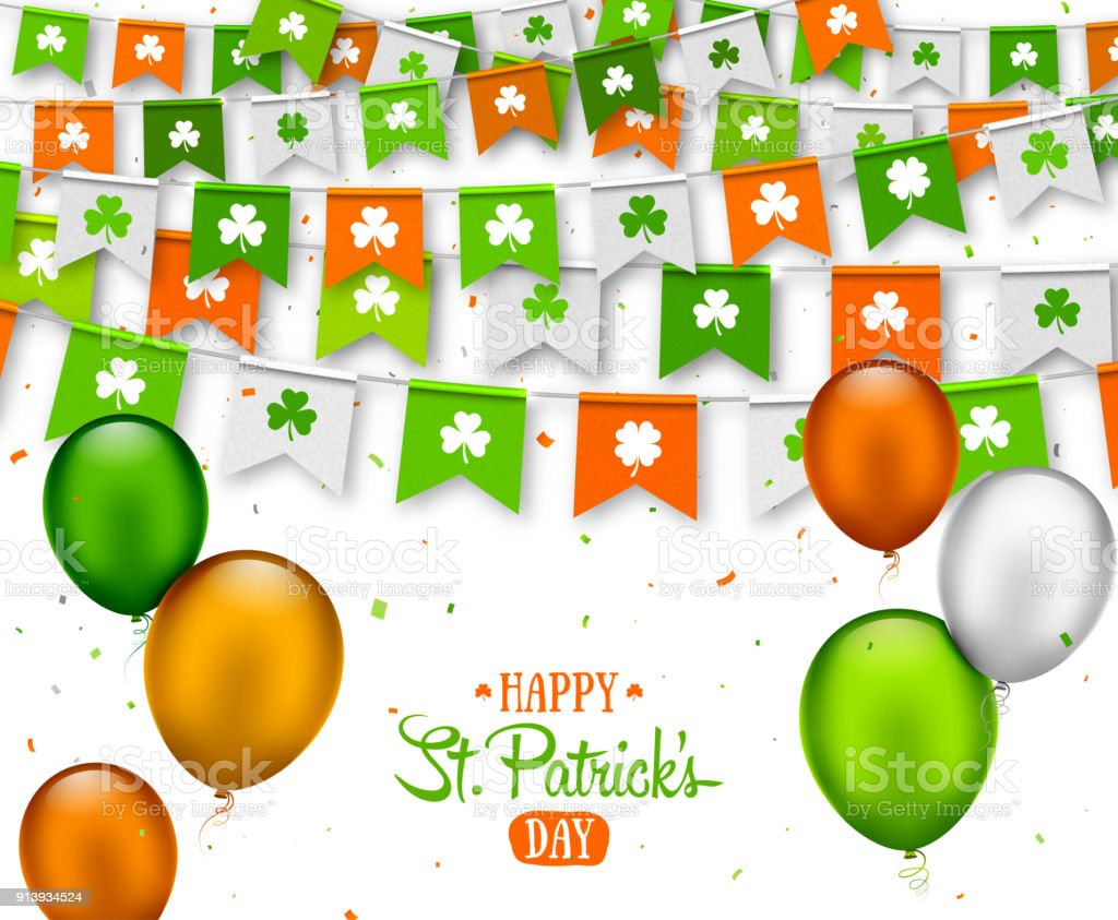 Irish Holiday Happy Saint Patricks Day Background With Garland Flags ...