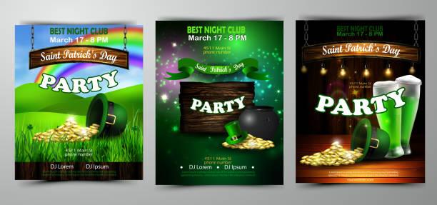 illustrazioni stock, clip art, cartoni animati e icone di tendenza di irish holiday saint patrick's day. party poster, disco night placard - tavola imbandita