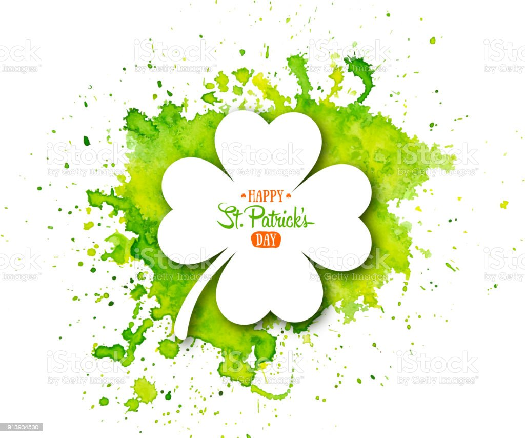 Irish holiday Saint Patrick's Day. White quatrefoil clover on abstract green waterolor background. vector art illustration