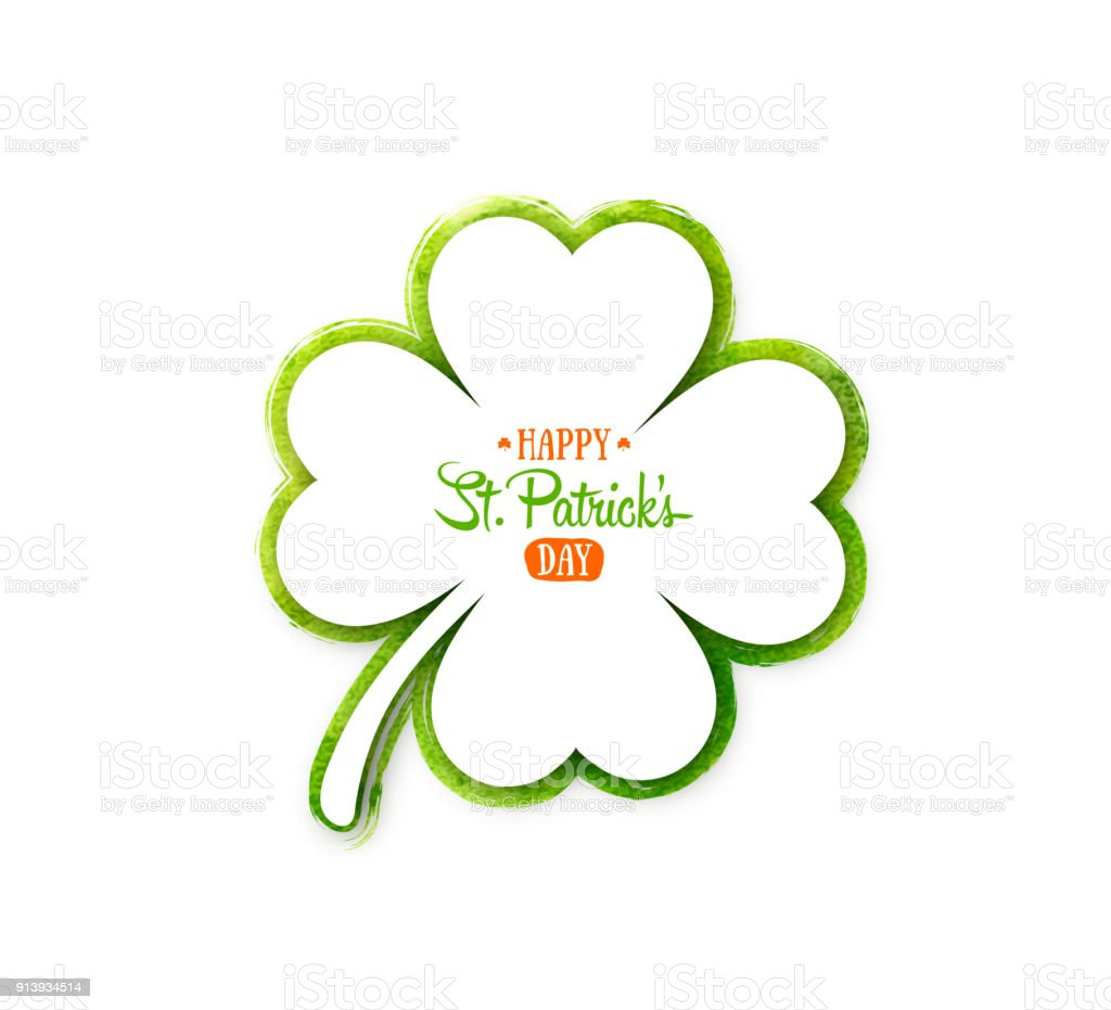 Irish holiday Saint Patrick's Day. White quatrefoil clover on green watercolor background. vector art illustration