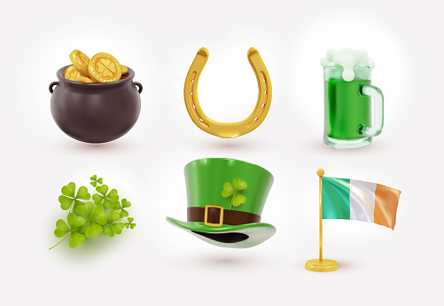 Irish holiday St Patrick day, gold coins in pot. Set of Irish St Patrick's day consisting of pot of gold coins, green hat, flag, horseshoe. Realistic design elements. Vector illustration.