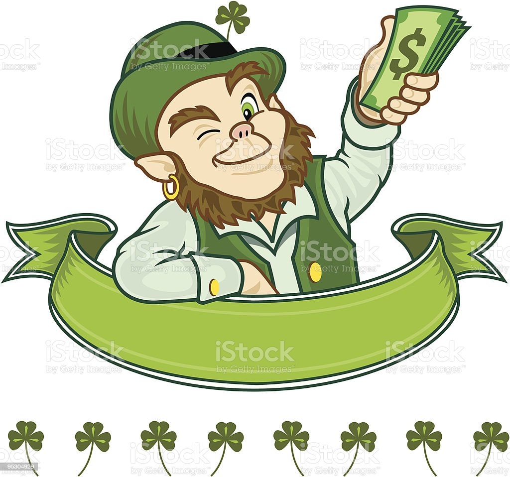 Irish Leprechaun With Plenty Of Green royalty-free stock vector art
