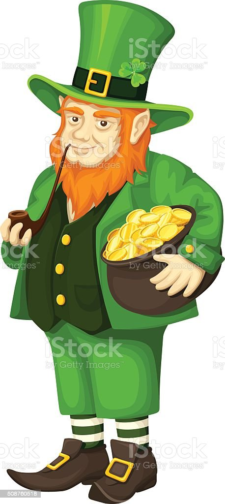 irish leprechaun with pot of gold and pipe vector illustration    irish leprechaun   pot of gold and pipe  vector illustration  royalty   stock