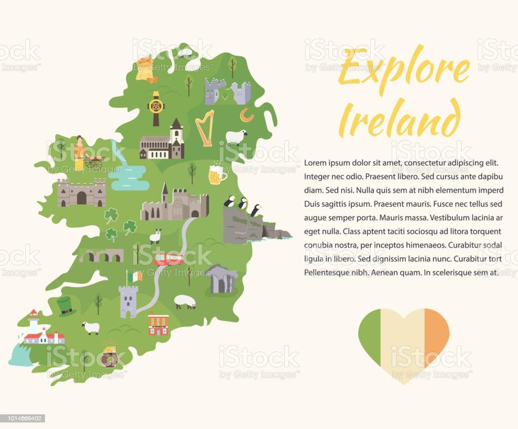 reiseziele irland karte Irische Karte Mit Symbolen Von Irland Reiseziele Stock Vektor Art