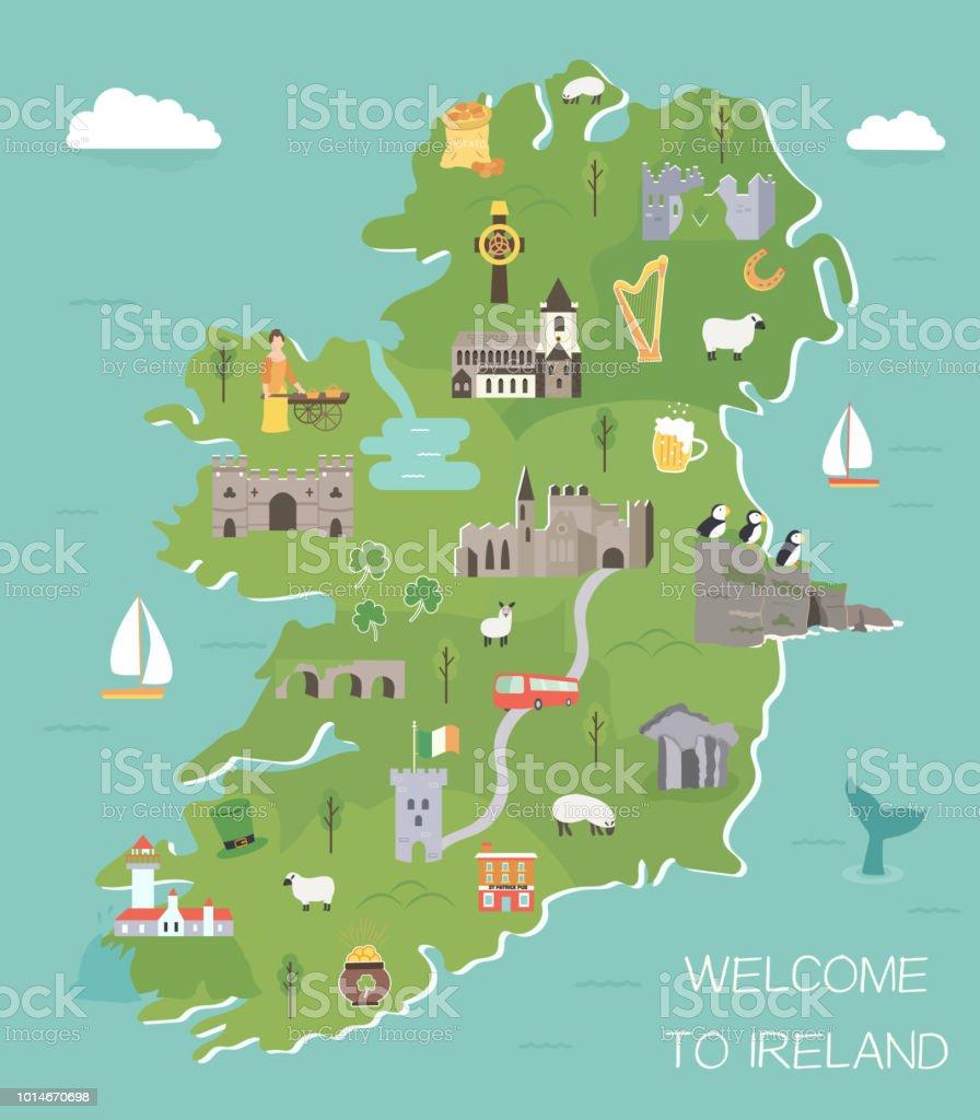 Irish Map With Symbols Of Ireland Destinations Stock Vector Art