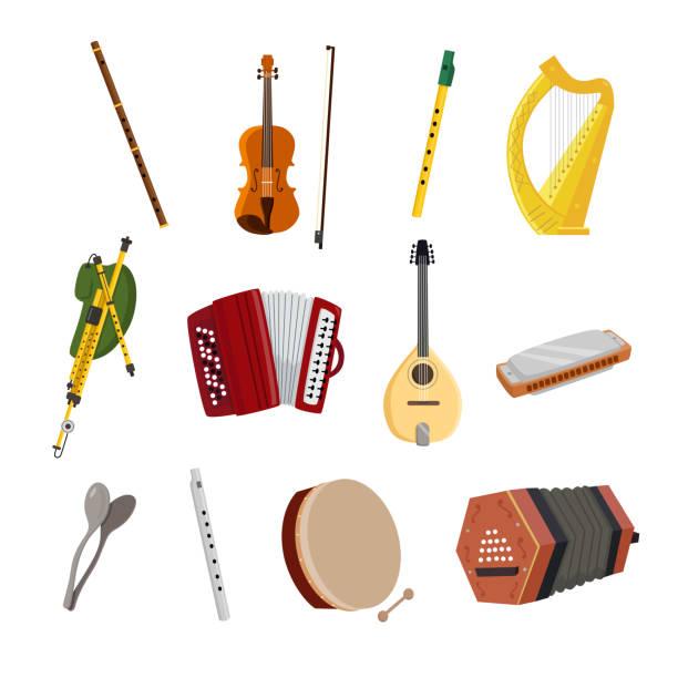 irish musical instruments - instrument muzyczny stock illustrations