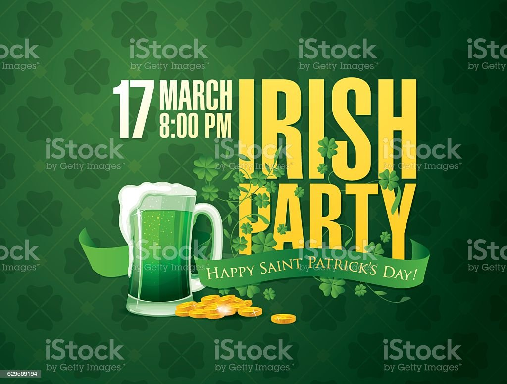 Irish party. Happy Saint Patrick's day vector art illustration