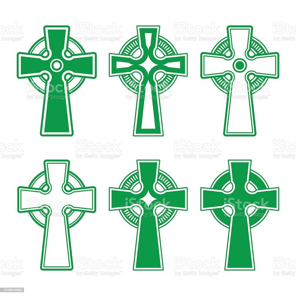 Irish, Scottish Celtic green cross on white vector sign vector art illustration