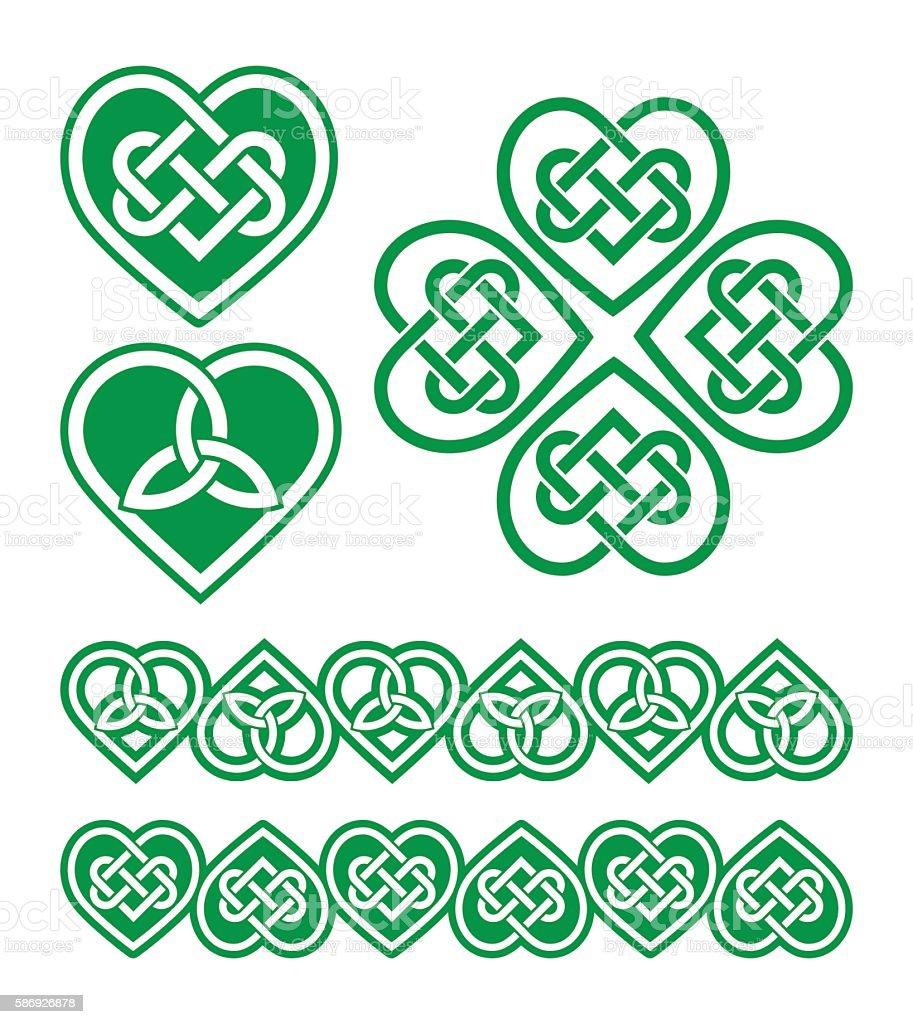 Irish, Scottish Celtic green heart vector pattern vector art illustration