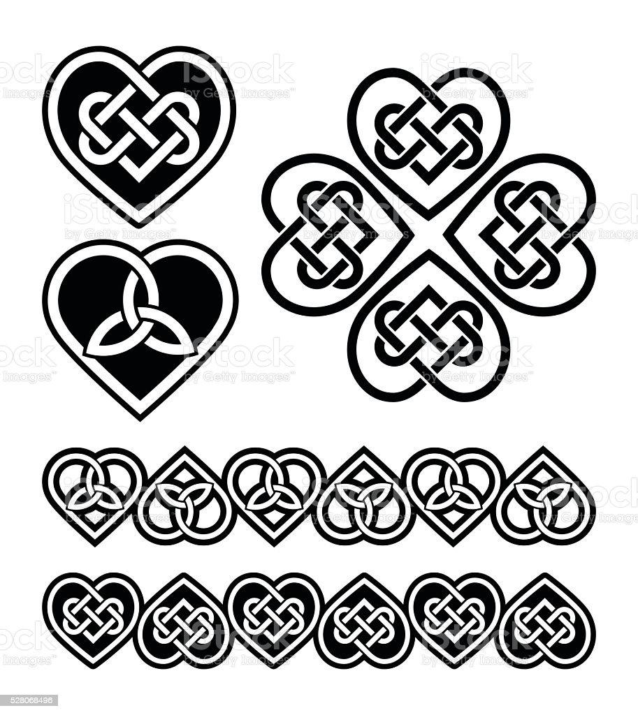 Irish, Scottish Celtic heart vector pattern vector art illustration