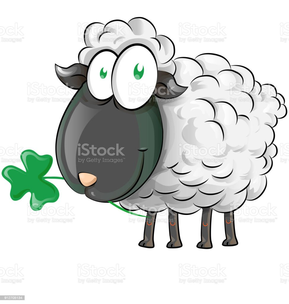 irish shepp cartoon on white background vector art illustration