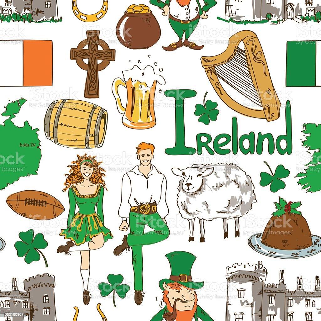 Ilustración de Símbolos Patrón Sin Costuras De Irlanda y más banco ...