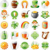 Icon set with Irish symbols for St. Patrick's day or any other national theme.