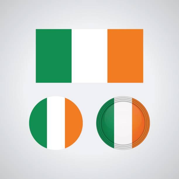 ilustraciones, imágenes clip art, dibujos animados e iconos de stock de banderas de trío irlandés, ilustración vectorial - bandera irlandesa