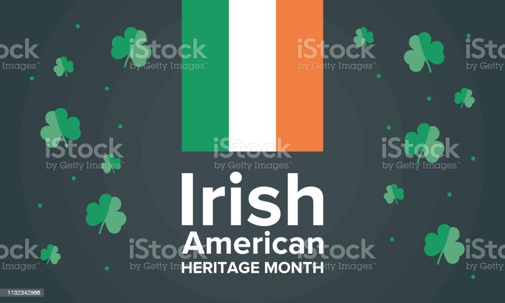 Irish-American Heritage Month. Annual celebrated all March in the United States vector art illustration