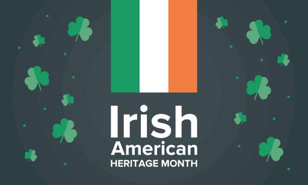ilustraciones, imágenes clip art, dibujos animados e iconos de stock de mes de la herencia irlandés-americana. anual celebrado en marzo en los estados unidos - bandera irlandesa