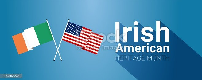 Irish-American Heritage Month - March - long horizontal banner template with Irish and USA crossed flags, as a symbol of the contributions of Irish diaspora living in the USA on blue background.