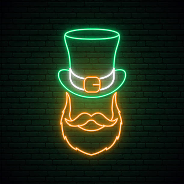 ilustrações de stock, clip art, desenhos animados e ícones de irishman neon sign. irishman with a ginger beard in a hat. man portrait vector illustration in neon style. st. patrick's day design. - santa beard neon