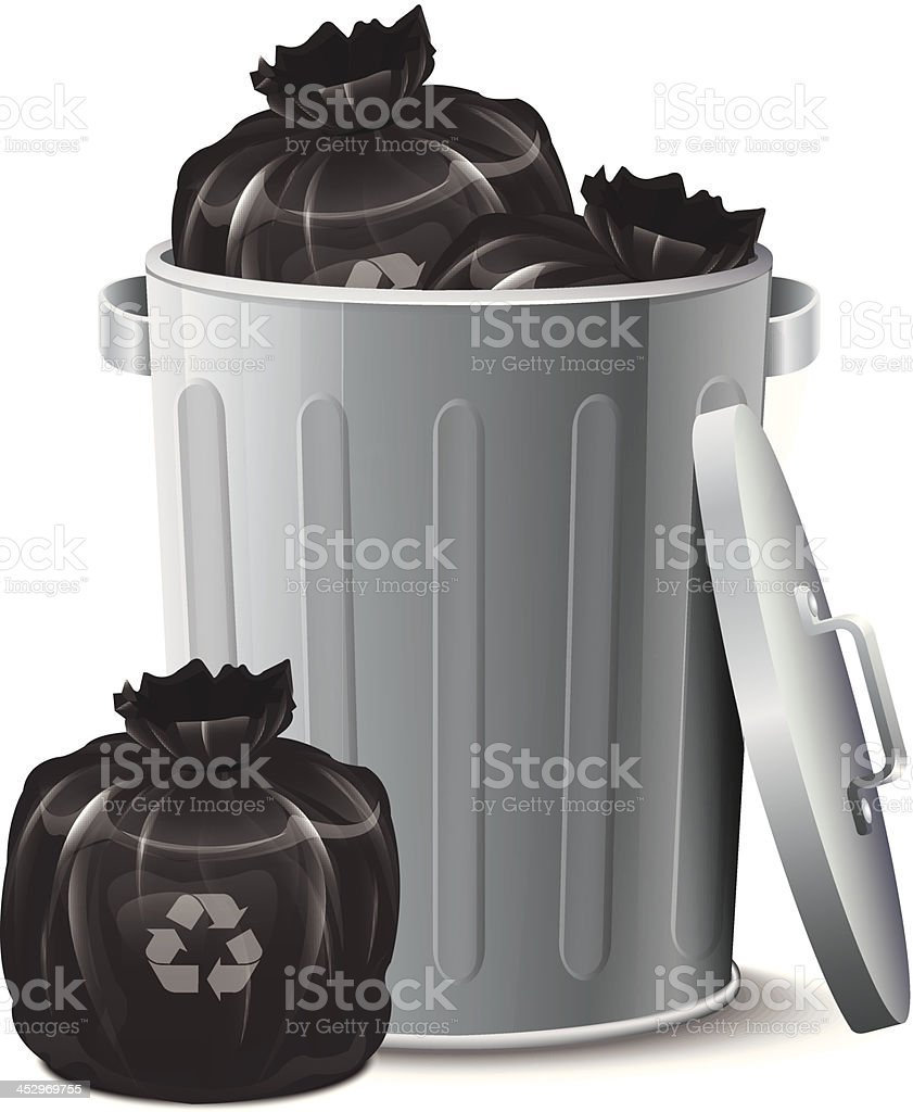 Iron Bin With Garbage Bag vector art illustration