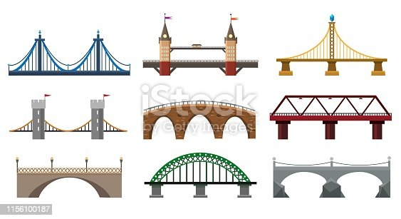 Vector bridges. Iron bridge set illustration, metal architecture building bridgework elements in flat style